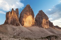 Evening view of Drei Zinnen or Tre Cime di Lavaredo Stock Photography