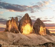 Evening view of Drei Zinnen or Tre Cime di Lavaredo Stock Images
