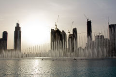 Evening view of the Dubai Fountain near The Dubai Mall in Dubai, UAE Royalty Free Stock Images