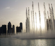 Evening view of the Dubai Fountain near The Dubai Mall in Dubai, UAE.  Stock Photography