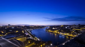 Evening view of Duoro river and City of Porto, Portugal stock footage