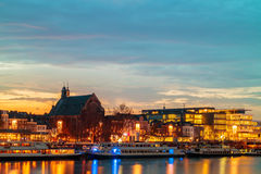Evening view of the Dutch Maastricht city center Stock Photos