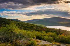 Evening view of Eagle Lake from the road to Caddilac Mountain in Royalty Free Stock Images