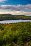 Evening view of Eagle Lake from the road to Caddilac Mountain in Royalty Free Stock Photo