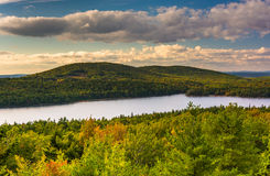 Evening view of Eagle Lake from the road to Caddilac Mountain in Stock Image