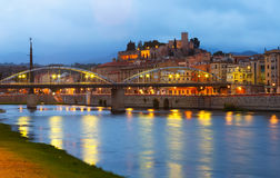 Evening view of Ebro  with bridge and Suda Castle in Tortosa Stock Photography