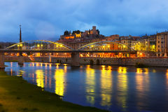 Evening view of Ebro river with bridge and  Castle in Tortosa Stock Photo