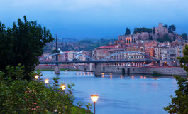 Evening view of Ebro river in Tortosa Stock Image