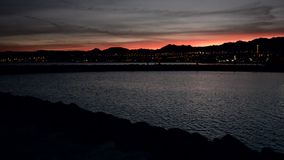 Evening view on Eilat and the Red sea, Israel stock video footage