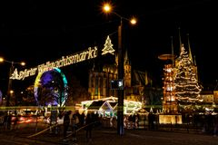 View over christmas market in Erfurt royalty free stock images