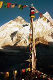 Evening view of Everest with buddhist prayer flags Royalty Free Stock Image