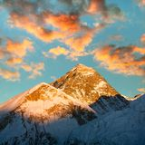 Evening view of Everest from Kala Patthar - Nepal Stock Image