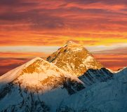 Evening view of Everest from Kala Patthar Stock Photo