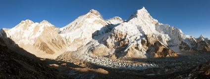 Evening view of Everest from Pumo Ri base camp Stock Image