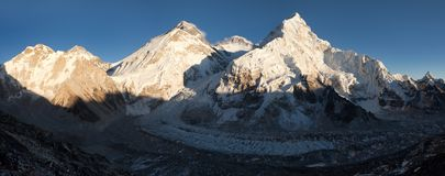 Evening view of Everest from Pumo Ri base camp Royalty Free Stock Image