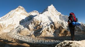 Evening view of Everest with tourist Stock Photos