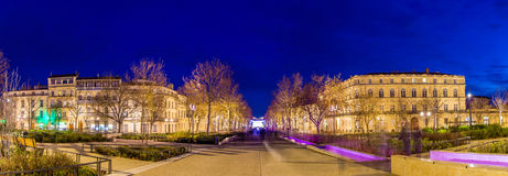 Evening view of Feucheres Avenue in Nimes - France Royalty Free Stock Photography