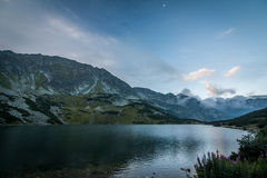 Evening view from Five Polish Ponds Hostel to Front Polish Pond Stock Photography