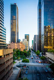 Evening view of Flower Street, in downtown Los Angeles, Californ Stock Images