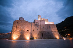 Evening view of fortres. Evening view of old medieval fortress of Castellammare del Golfo town, Sicily, Italy Royalty Free Stock Photo