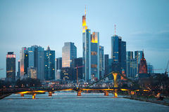 The evening view of Frankfurt am Mine skyscrapers Stock Photo