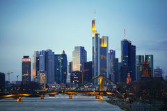 The evening view of Frankfurt am Mine skyscrapers Royalty Free Stock Image