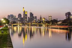 Evening view of Frankfurt skyline and river Main. Germany Stock Photography