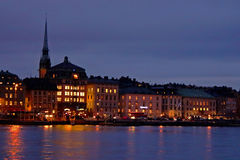 Evening view of the Gamla Stan The Old Town in Stockholm Stock Images
