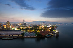 Evening view of Georgetown, Penang, Malaysia Royalty Free Stock Photos