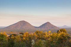 Evening view on the Glasshouse mountains Royalty Free Stock Images
