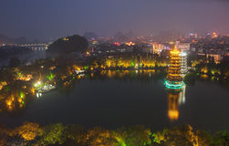 Evening view of the Gold and Silver Pagodas in Guilin China Royalty Free Stock Images