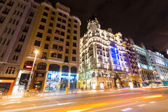 Evening view of Gran Via street in Madrid, Spain Royalty Free Stock Photos