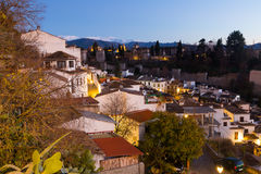 Evening view  of  Granada with Alhambra Stock Image