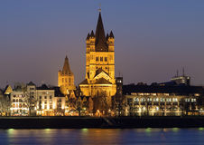 Evening view on Great St. Martin Church in Cologne Royalty Free Stock Images