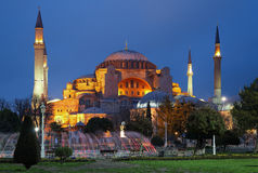 Evening view of the Hagia Sophia in Istanbul Royalty Free Stock Image