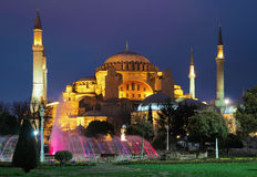 Evening view of the Hagia Sophia in Istanbul Stock Photography