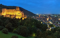 Evening view of Heidelberg, Germany with Heidelberg Castle Royalty Free Stock Images