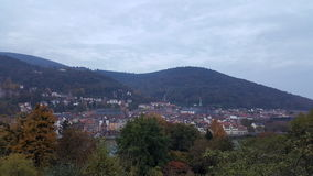 Evening view of Heidelberg Old Town, Germany. Heidelberg and neckar river panorama Royalty Free Stock Photos