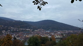 Evening view of Heidelberg Old Town, Germany. Heidelberg and neckar river panorama Stock Photo