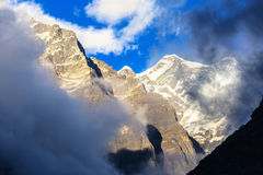 Evening View of high Altitude Peak in Himalaya Mountains Royalty Free Stock Photos