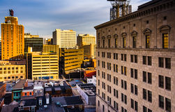 Evening view of highrises from the South Street Parking Garage i Stock Photography