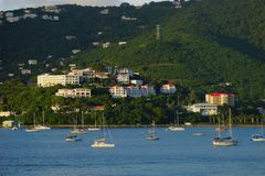 Evening view of hillside buildings in Prince Ruperts Cove, St. Thomas, USVI. Stock Images