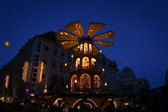 Evening view on historical center of Dresden on Christmas Stock Photo