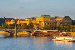 Evening view on historical center of Prague above River Vltava, Czechia Royalty Free Stock Photos