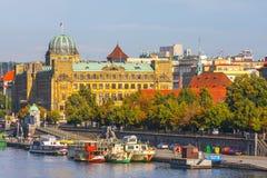 Evening view on historical center of Prague above River Vltava, Czechia Stock Photography