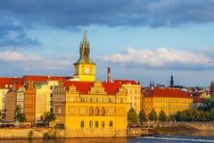 Evening view on historical center of Prague above River Vltava, Czechia Royalty Free Stock Image