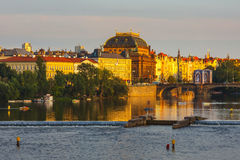 Evening view on historical center of Prague above River Vltava, Czechia Stock Photos