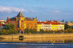 Evening view on historical center of Prague above River Vltava, Czechia Royalty Free Stock Images