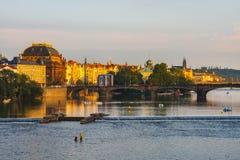 Evening view on historical center of Prague above River Vltava, Czechia Stock Image