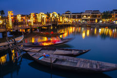 Evening view of Hoi An city, Vietnam. Night scene of ancient Hoi An city in the Chinese style, Vietnam Royalty Free Stock Images